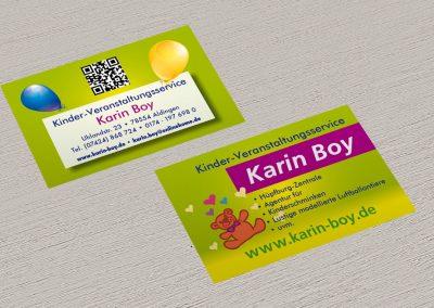 Visitenkarten für den Veranstaltungsservice Karin Boy