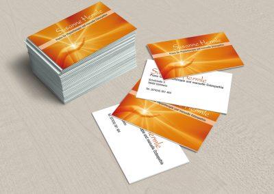 Visitenkarten für die Praxis für Physiotherapie und Osteopathie Susanne Hermle