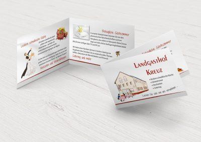 Klapp-Visitenkarten für den Landgasthof Kreuz Königsheim