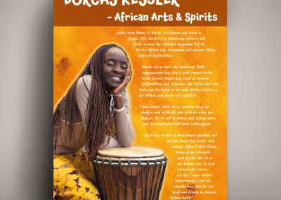 Plakat für Dorcas Kessler, Künstlerin aus Afrika