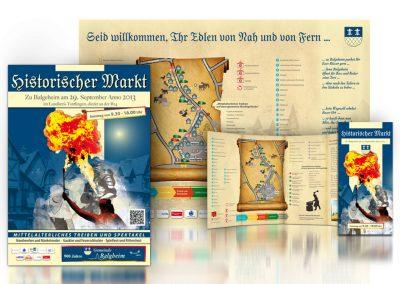 Mittelaltermarkt in Balgheim: Konzeption, Stadteingangsplakat, Plakate, Faltflyer
