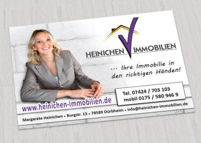 Heinichen Immobilien: Re-Design eines Logos, Anzeige für verschiedene Medien