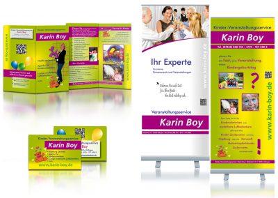 Veranstaltungsservice Karin Boy: Konzeption, Faltflyer, Visitenkarten, Rollups